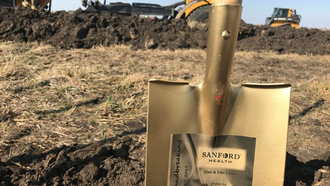 A shovel used for the groundbreaking ceremony Monday for Sanford Health's new west-side clinic.