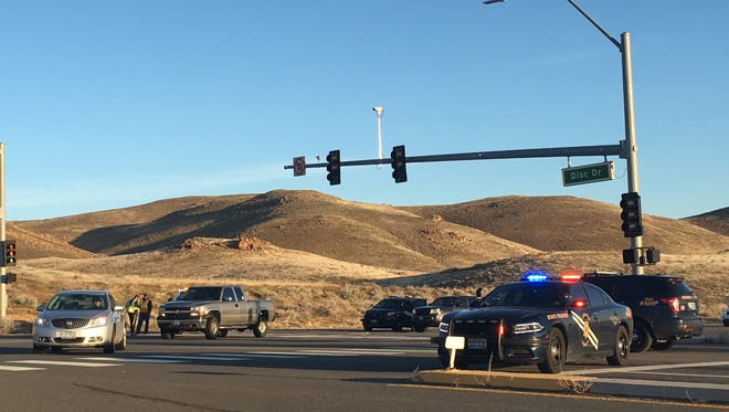 Roads were closed around Pyramid Way and Disc Drive in Sparks on Tuesday, March 28, 2017 as police responded to a report of an armed suspect in the area.