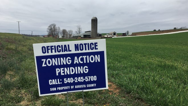 A sign posted along Va. 42 in Mount Solon about a zoning change that could allow for a large retail store to be built.