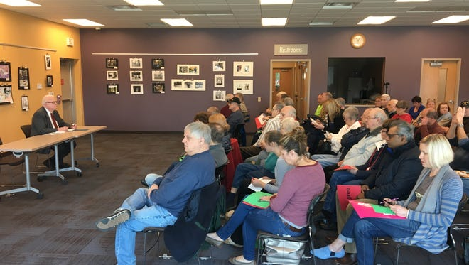 U.S. Rep. Jim Sensenbrenner (R-Wis.) responds to questions during a town hall Saturday at the Greenfield Public Library.