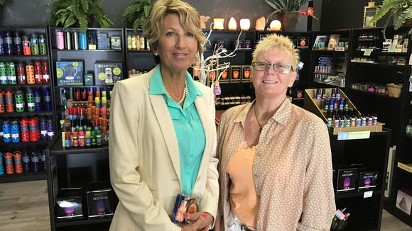 Shelley Johnson and Elaine Roberts went to middle school together in Illinois in the 1970s. They reconnected recently at The Jungle Organic Restaurant and Market in Indialantic.
