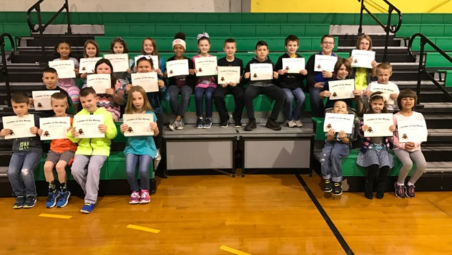 Cairo Elementary's March leaders of the month are, front row from left: Braidyn Kamuf, Matthew Chandler, John William Dowell, Izabelah Kitchens, Bryce Webb, Maddie Nash and Estelle Erbst. Middle row: Westin Blosser, Avery Magyar, Taylor McCollum, Ethan Pike and Brennan Beck. Back row: Gracie Gaston, Hazel Erbst, Kyndal Mills, Jacey Wallace, Heaven Green, Chloe Chandler, Caleb Gorrell, Landyn Buckman, Zane Bingham, Ryan Holland and Abby Laughary.