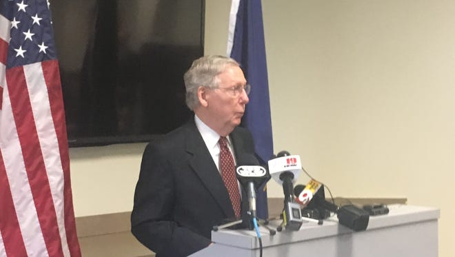 U.S. Senate Majority Leader Mitch McConnell talks to reporters in Florence on Tuesday