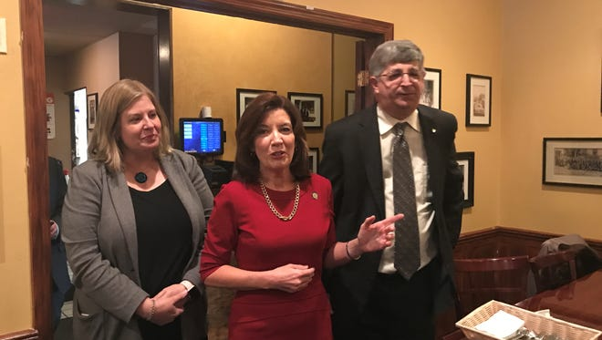 Rockland County Clerk Paul Piperato, right, a Democrat, kicks off his re-election campaign alongside Lt. Gov. Kathy Hochul, center, and county Democratic Committee Chairwoman Kristen Zebrowski Stavisky, at Joe & Joe Restaurant in Pearl River on Thursday.