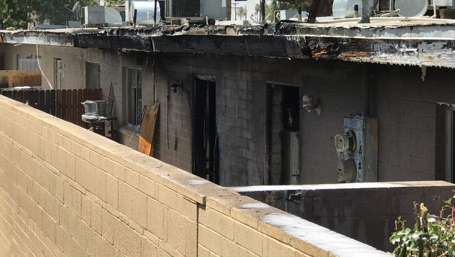 An apartment complex catches on fire in Phoenix on  April 12, 2017.