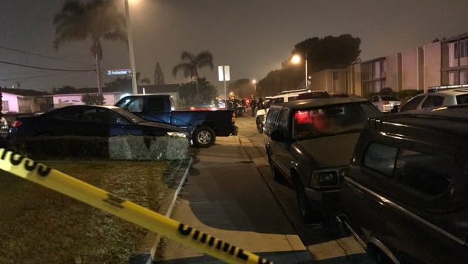 This was the scene around midnight Wednesday near Featherstone Street and San Gorgonio Avenue in Oxnard after a shooting. The victim, a 22-year-old man, was pronounced dead at a hospital.