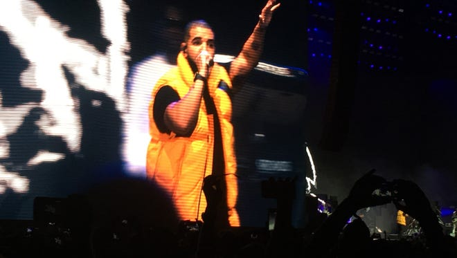 Drake surprises fans Saturday at the Coachella Valley Music and Arts Festival during Future's set.