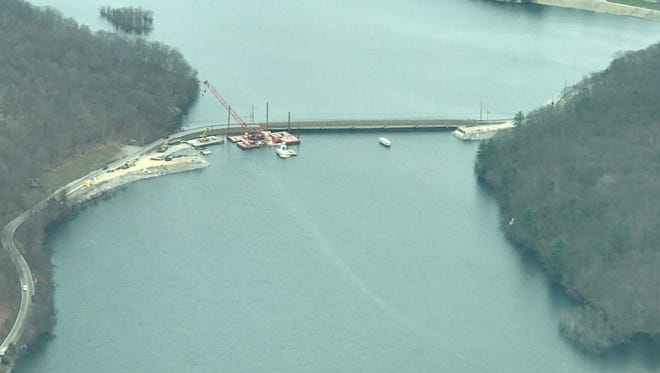 An aerial photograph of the West Brook Road bridge work on the Wanaque Reservoir April 15, 2017.
