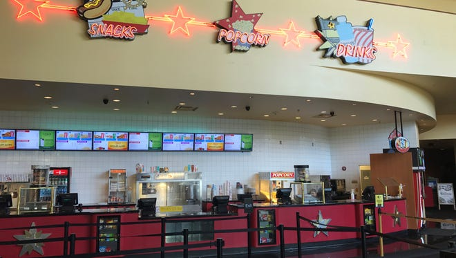 The concessions counter at the AMC Surprise Point 14 theater.
