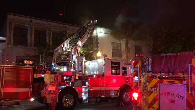 Crews battled a structure fire on Main Street in downtown Ventura on April 18.Tuesday