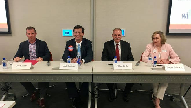 Candidates running for Brentwood City Commission — John Byers, Mark Gorman, Rhea Little and Regina Smithson — debated the issues Wednesday. The election is May 2.