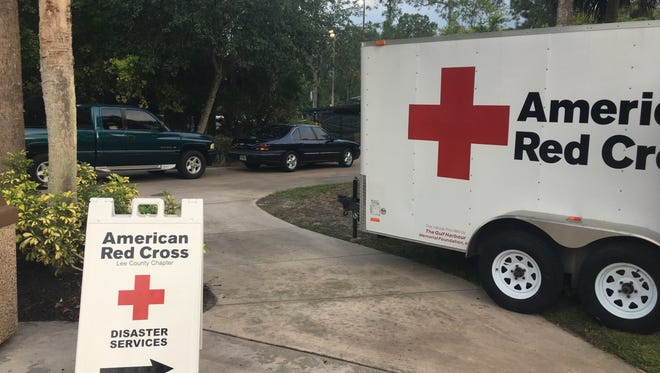 The American Red Cross is set up at the evacuation center at the Max A. Hasse Jr. Park.
