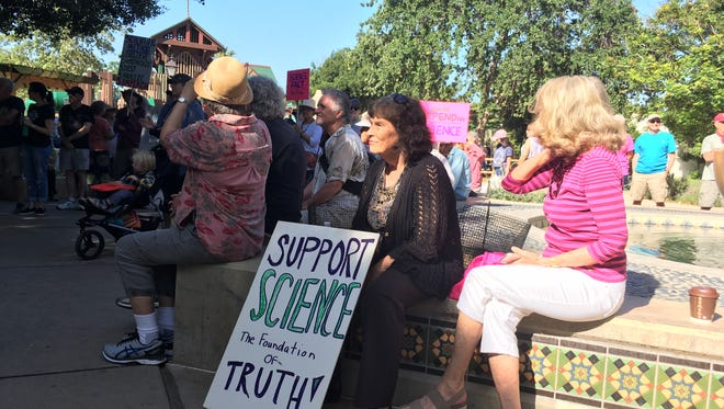 March for Science participants gather Saturday at Libbey Park in Ojai.