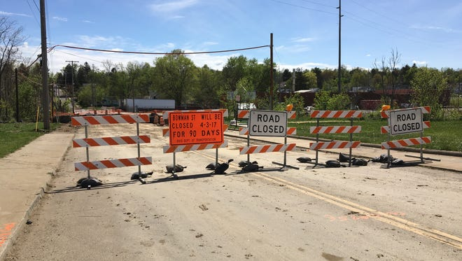 Bowman Street, between West Sixth and Springmill streets, is pictured closed on Monday, April 24, 2017. The section of road will be closed for three months as a bridge is replaced.