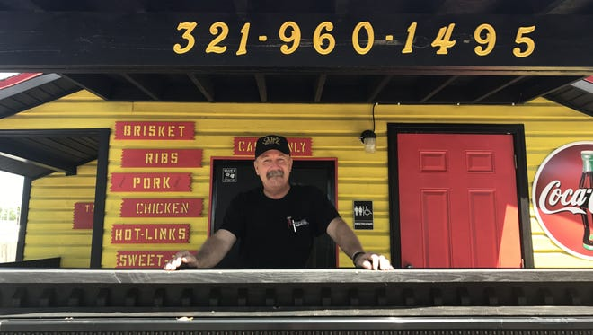 Mike Shaw sells barbecue on Friday and Saturday afternoons from a mustard yellow shack off Barton Boulevard in Rockledge.