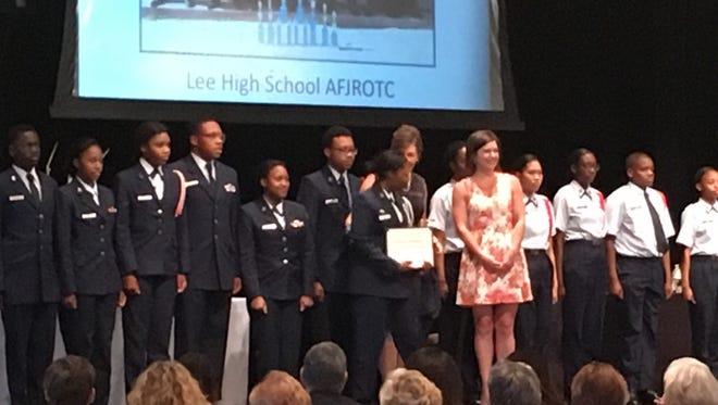 The Lee High School Air Force Junior ROTC won the Youth Group of the Year at the 2107 Volunteer of the Year awards on Thursday at Trinity Presbyterian Church.