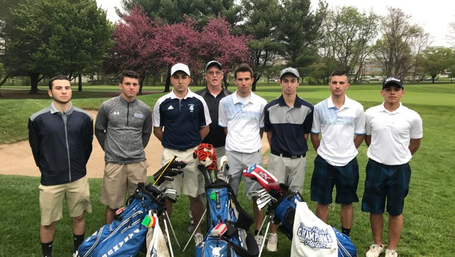 Paramus golf: (from left)  Brian Levy, Joseph Rendine, Gaetano Fernandes, coach Paul Barnes, Eric Waxman, Spencer Lubash, James Rendine and Paul Colontino.
