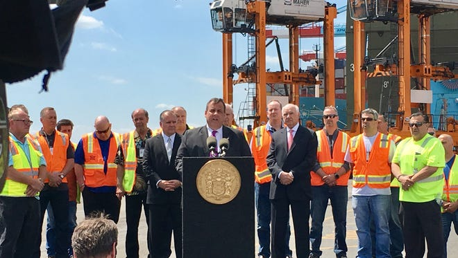 Gov. Chris Christie marked the impending opening of the raised Bayonne Bridge on Tuesday, May 2, 2017 in Elizabeth
