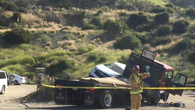 A three-vehicle collision closed part of the Pacific Coast Highway Tuesday morning. Minor injuries were reported.