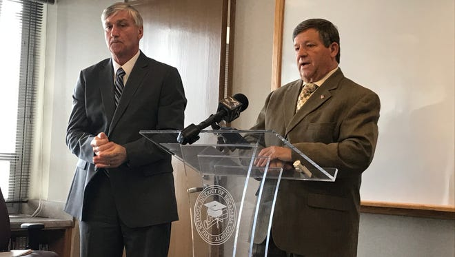 Escambia County School District Superintendent Malcolm Thomas, right, speaks about the state's budget proposal on Thursday, May 4, 2017, as Santa Rosa County School District Superintendent Tim Wyrosdick looks on during a press conference at the Escambia County school district's offices in Pensacola.
