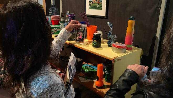 """Residents searched for """"drugs"""" and drug paraphernalia inside a teen's theoretical bedroom as part of Wayne's fifth annual drug forum."""