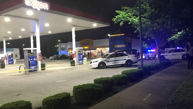 Police were on the scene of a reported shooting at a Dickerson Pike gas station Thursday, May 11, 2017.