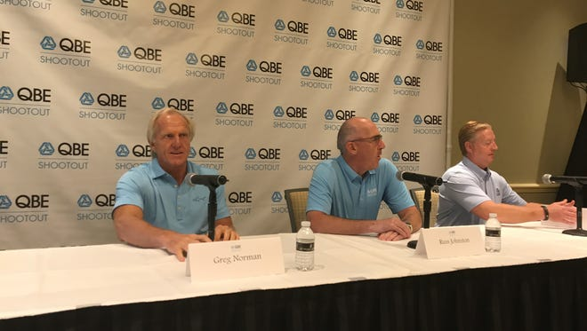 QBE Shootout founder/host Greg Norman (left), Russ Johnston the CEO of QBE North America, and Mark Cantin, the President of Field Operations for QBE North America discuss changes to the PGA Tour-sanctioned event on Friday, May 12, 2017, in Naples, Fla.