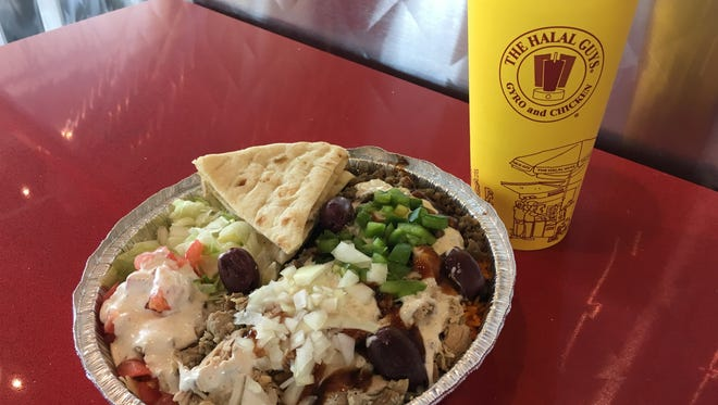 A combo platter and fountain drink at The Halal Guys in Shreveport.