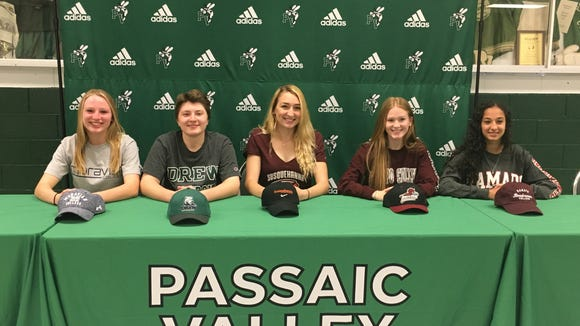 Part of the group (the girls) from Passaic Valley at the school's Signing Day ceremony last week.