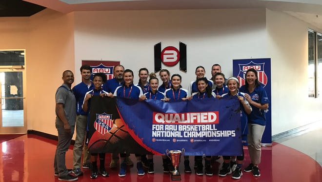 Members of the Pace Elite team with their trophy after win the Silver bracket at the recent AAU state girls basketball tournament in Tavares.