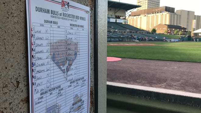 The lineup card for the Wings in the dugout at Frontier Field.