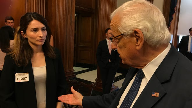 Ceren Borazan of East Rutherford speaks to Rep. Bill Pascrell after she was allegedly thrown to the ground and kicked by Turkish security while protesting in Washington during a May 16, 2017, visit by Turkish President Recep Tayyip Erdogan.