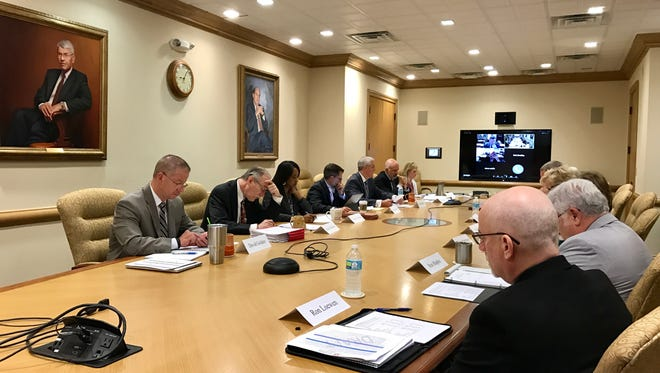 The University of Tennessee board of trustees subcommittee on efficiency and cost savings meets with the president's Budget Advisory Group on Thursday, May 25, 2017 at Andy Holt Tower on the UT Knoxville campus.
