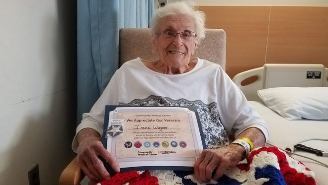 Irene Wagner, a WWII Navy Nurse Corps Veteran and one of the first nurses to work at Community Medical Center, was honored for her service as part of the hospital's Veteran Recognition Program.