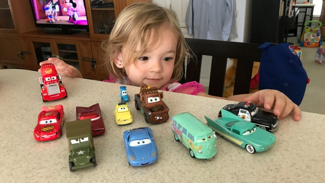 "Isabella can't get enough of Disney's ""Cars."""