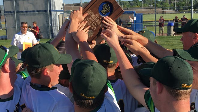 Green Bay Preble celebrates after beating De Pere in a WIAA Division 1 sectional championship Tuesday at Wausau West High School.