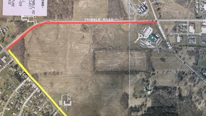 A walking and biking path, will be added along Cook Road (lower left diagonal) between Trimble and Woodland roads. A similar path is already being constructed along Trimble (top). The city hopes to construct a similar path on Woodland Road (lower right) in the future.