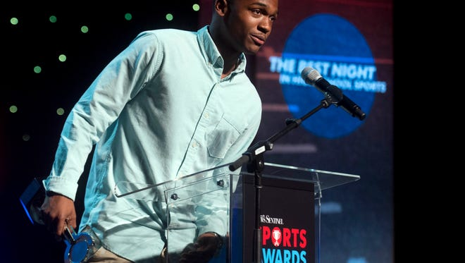 Elijah Howard of Webb School of Knoxville is named the Track and Field Athlete of the Year at the News Sentinel Sports Awards at the Tennessee Theatre on June 7, 2017.