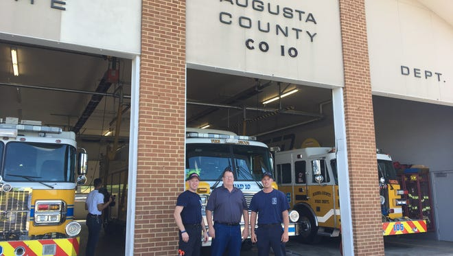 David Mace, firefighter and EMT, Terry Kelley, station president, and Lt. Nick Ramsey at the Augusta County Company 10 fire station in Staunton on Friday, June 9, 2017. The fire station's closure was officially announced.