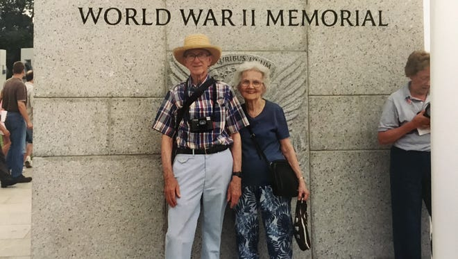 Dan and Wanda Miller at the World War II Memorial in Washington, D.C., in 2004.