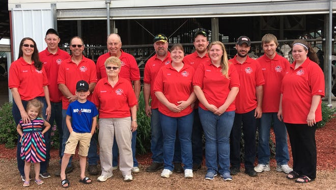 Family from Zoromski Family Farms pose prior to the 38th Annual June Dairy Brunch and Open Farm on June 17, 2017, which will be hosted at the Custer farm. Those pictured include Jody Zoromski, Jorja Zoromski, Justin Zoromski, Bob Zoromski, Brenda Zoromski, Germaine Zoromski, Ben Greeb, Josh Dahms, Jacob Dahms, Stephanie Willfahrt, Jessica Zoromski, Jim Zoromski, Willow Kolbus, and Kasen Kolbus.