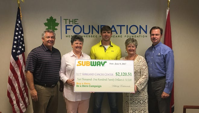 Local Subway restaurants and customers donated $2.120.51 to Kirkland Cancer Center.