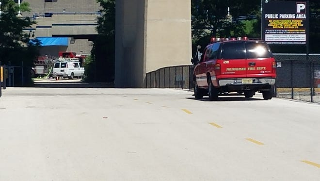Milwaukee Fire Department personnel respond to a call at the Summerfest grounds.