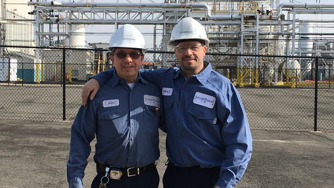 Alex Krasznai and his son Michael at the LyondellBasell Edison plant.
