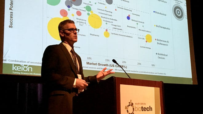 Dr. Christoph Bausch of SAB Biotherapeutics speaks on the state of the biotech industry in South Dakota at the South Dakota Biotech Summit, Thursday, June 15 in Sioux Falls.