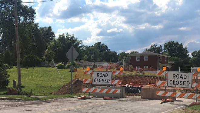 The site of planned roadwork to Blackiston Mill Road in Clarksville, Indiana.