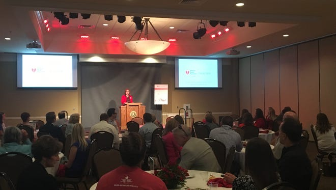 American Heart Association director of the West Tennessee district Christy Futrell speaks during the American Heart Association Heart Walk breakfast at Union University.
