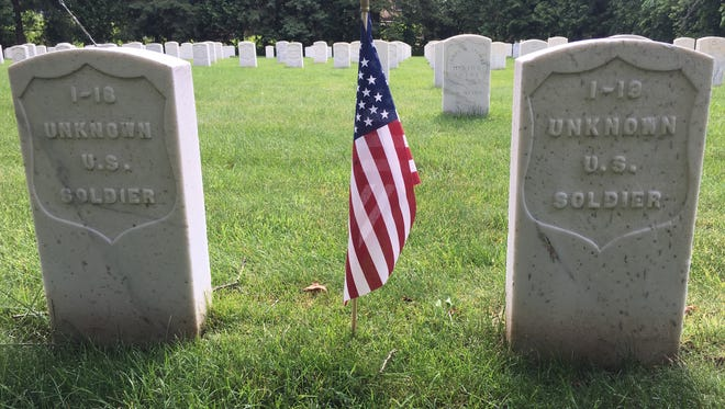 Grave markers in the Union cemetery, Soldiers Rest, at Forest Hill Cemetery in Madison