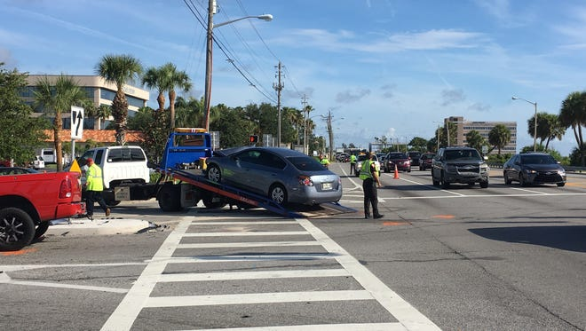 Traffic is moving slowly through the intersection at NASA Boulevard and U.S. 1 on Thursday morning in Melbourne.
