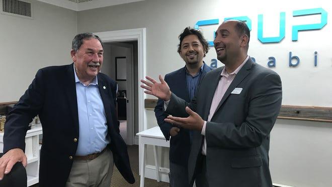 Left, Salinas Mayor Joe Gunter and Omar Bitar and right, Mike Bitar at the recent Grupo Flor open house.
